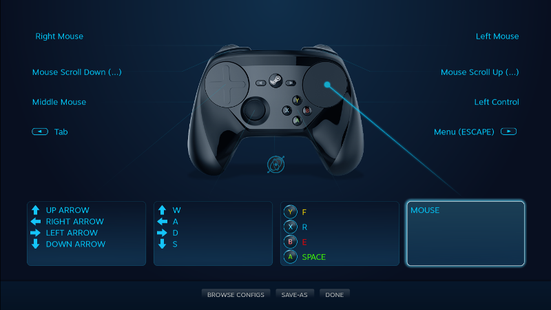 A screenshot of the controller configuration interface from Steam Big Picture Mode.