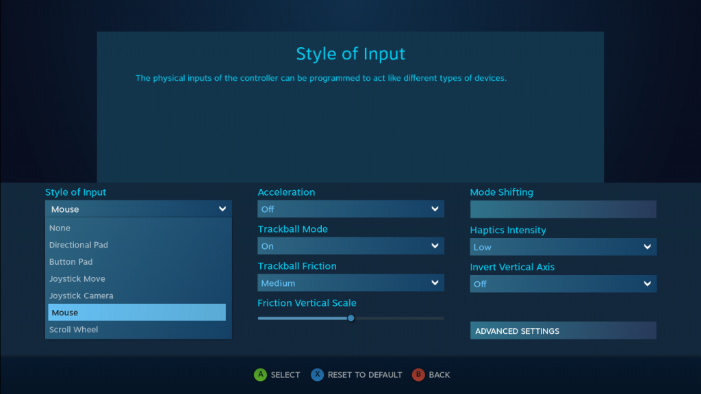 A screenshot showing the options available for configuring the controller's touch pads.