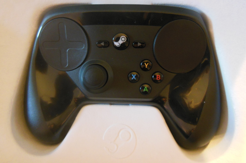 A steam controller in its box.