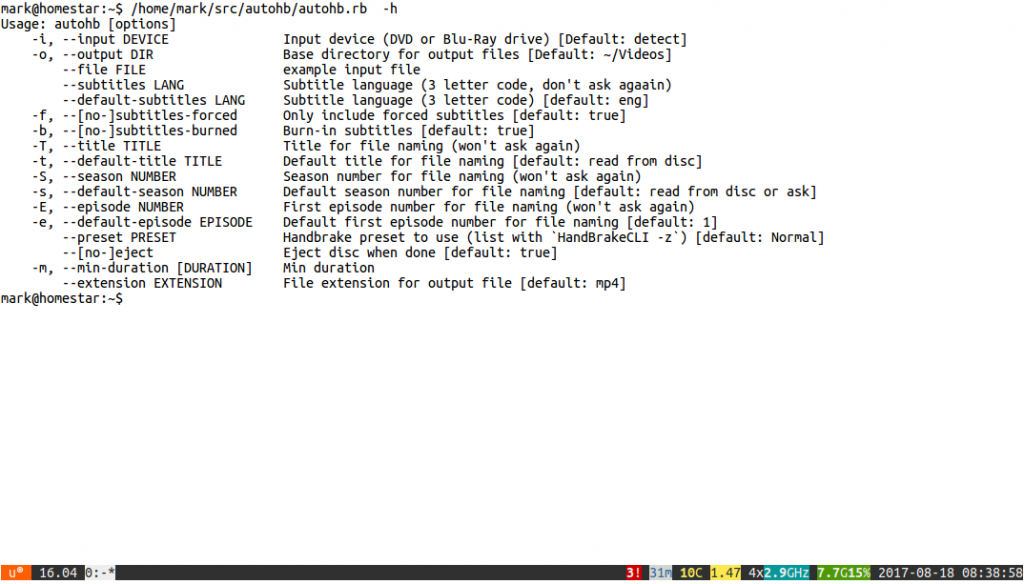 Usage information for AutoHandbrake, listing the available command line options.