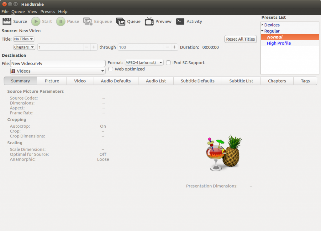 Screenshot of the Handbrake GUI